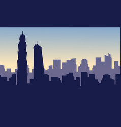Silhouette of building hotel on dubai scenery vector