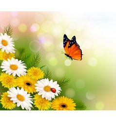 Spring background Flowers and a butterfly vector