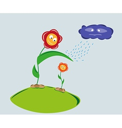 Strong flower protect weaker flower against rainy vector
