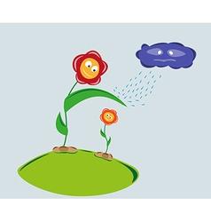 strong flower protect weaker flower against rainy vector image