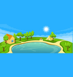 summer landscape with lake vector image