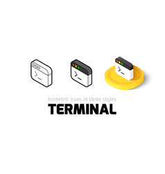 Terminal icon in different style vector image