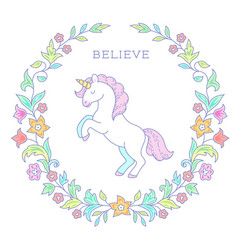 Unicorn in floral wreath vector
