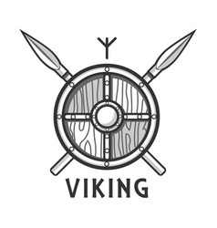 vikings shield with two crossed spears and small vector image