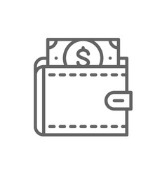 Wallet with dollars save money invest line icon vector