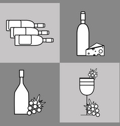 Wine glass and bottles with chesee and grape vector