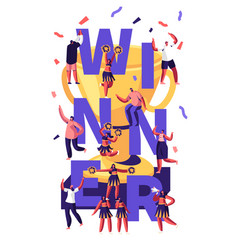 winner concept with cheerleaders team making vector image