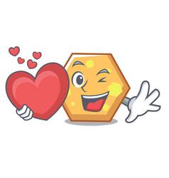 with heart hexagon mascot cartoon style vector image