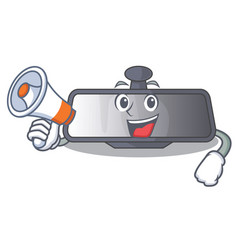 with megaphone rear view mirror isolated with vector image