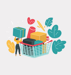 woman next shopping cart bith big box vector image