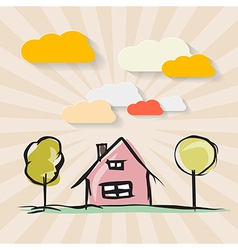 Hand Drawn House with Trees and Paper Clouds on vector image vector image