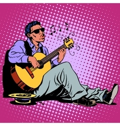 Street blues musician of african descent with a vector