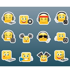 dj smile stickers set vector image vector image