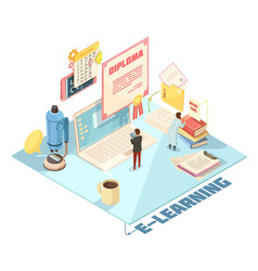 online education isometric design vector image vector image