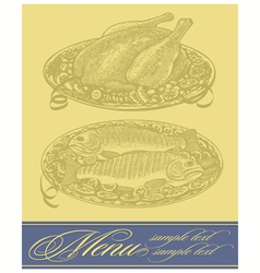 restaurant menu design with chicken and fish vector image