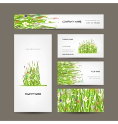 Business cards collection green meadow design vector image vector image