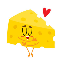 Cute and funny cheese chunk character showing love vector