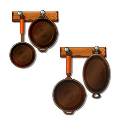 frying pans and saucepans hangs on nails vector image vector image