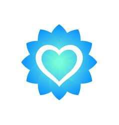 heart outline with flower shape logo element vector image