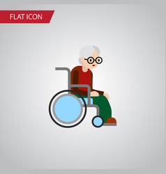 isolated handicapped man flat icon wheelchair vector image