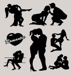 Romantic love couple silhouette 2 vector image