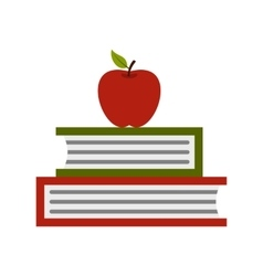 Two books with red apple icon flat style vector image vector image