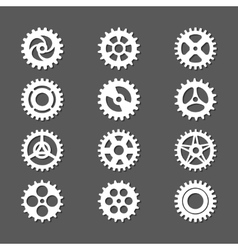 White gears icon set with shadows vector image
