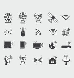 black wireless icons vector image vector image