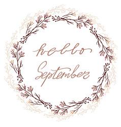 hand drawn lettering phrase hello september vector image