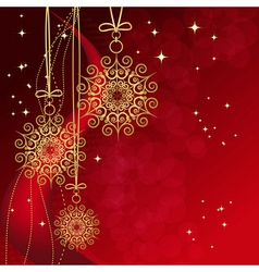 Red card with christmas snowflakes vector image