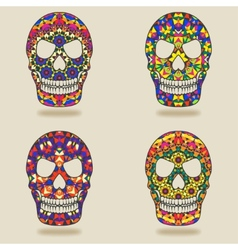 skull with kaleidoscope pattern vector image vector image