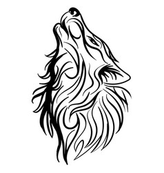 wolf head howl design tribal tattoo vector image