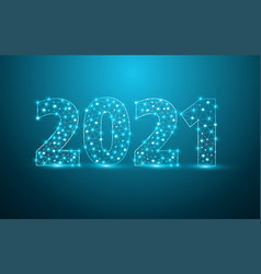 2021 new year text design with mesh stylish vector
