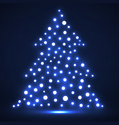 abstract christmas tree from glowing dots vector image