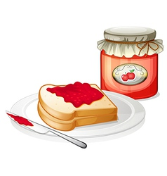 An apple jam with a sandwich in the plate vector