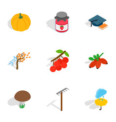 Autumn icons isometric 3d style vector