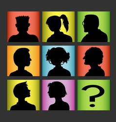 Avatars people character silhouette vector image