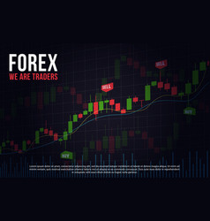 Background with stock market candlesticks chart vector