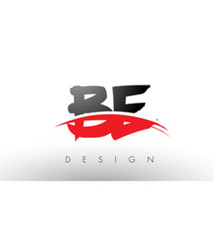 be b e brush logo letters with red and black vector image