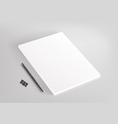 blank white book and office stationery vector image