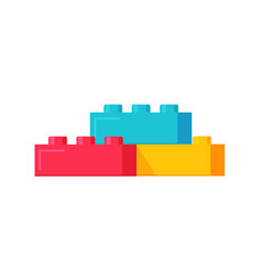 Blocks constructor toys flat vector