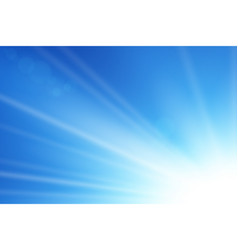 blue sky sun flare background clear summer nature vector image