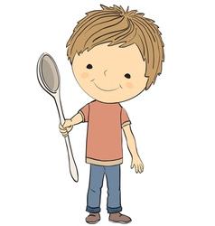 Boy and spoon vector