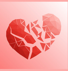 broken heart in lowpoly style on bright background vector image