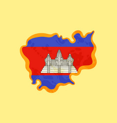 cambodia - map colored with cambodian flag vector image