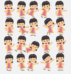 cartoon character asian girl set with different vector image
