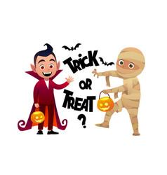 cartoon children vampire and mummy costume trick vector image