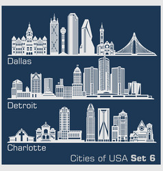 Cities usa - dallas detroit charlotte vector