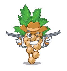 Cowboy white currant isolated with the cartoons vector