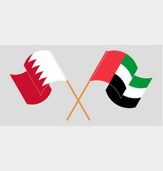 Crossed and waving flags bahrain and united vector